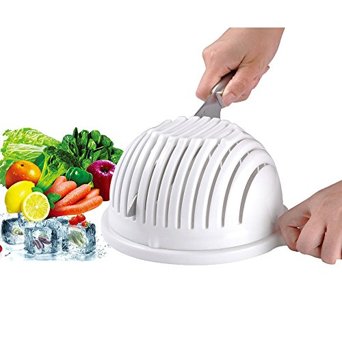 Insalata Cutter Ciotola - Pingenaneer 3 in 1 Multifunzionale Verdura, Frutta Chopper, Spinner e Filtro 60 Secondi Insalata Maker(Bianco)