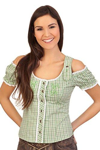 Trachten Bluse im Carmenstil - EUPEN - blau, grün Grün