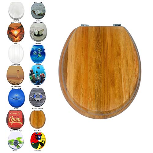 Toilettensitz WC-Sitz Luxus MDF Holz Slim Toilettensitz, leicht zu reinigen, Ersatz Scharnier, rund (Massivholz) -
