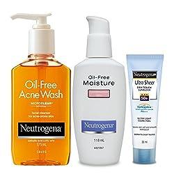 Neutrogena Acne Prone Skin Combo (Oil Free Acne Wash 175ml, Oil Free Moisturiser Comination Skin 118ml, Ultra Sheer Dry-Touch Sunblock SPF 50+ 30ml)