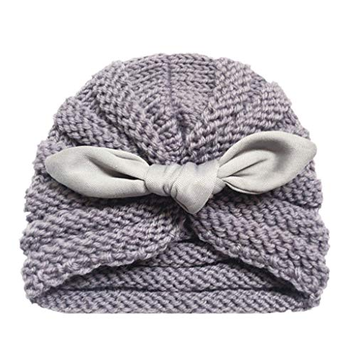 H.eternal Baby Beanie Mütze Wintermütze Warmen Knit Kopfbedeckung Skull Cap Knoten Elastische Stretch Turban Strickmütze (H) - Stretch-skull-cap