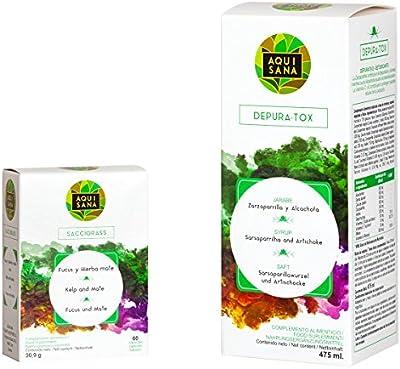 AQUISANA - jarabe depurativo 475ml + quemagrasas 60 cápsulas, 100% natural