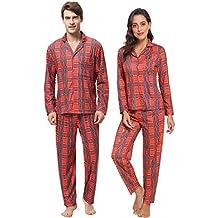 15e5a732cf Aibrou Pijama Parejas Hombre y Mujer Algodon