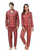 Aibrou Pijama Parejas Hombre y Mujer Algodon,Suave Comodo y Agradable