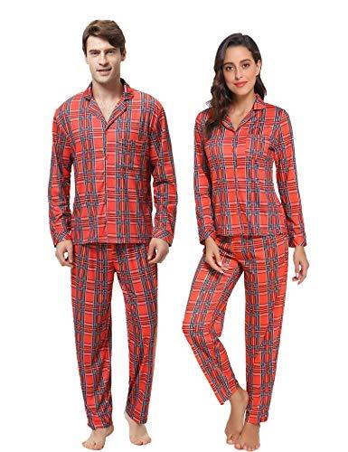 Aibrou Winter Familie Herren Lang Pyjama Set, Karierte Schlafanzug mit Kopfleist Langarm Shirt und Pyjamahose Rot XXL