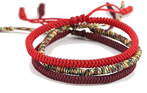 Glücks-Armband aus Tibetisch-Buddhistischen Handgemachten Seilknoten (Set aus 3 Armbändern)