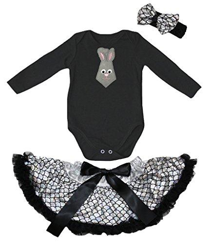 Petitebelle Easter Tie Black L/S Romper Silver Scales Baby Skirt Nb-12m (6-12 Months)