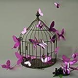 12 X 3D Schmetterling Wandsticker Wandtattoo Wandaufkleber - Lila Schpiegeleffekt