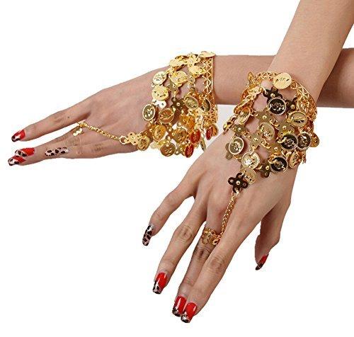 nce Gold Triangle Bracelet Gypsy Jewelry Coin Bracelet Hand Decoration Wrist Bangle Ring,Halloween Costume Accessory(Gold) by Ewandastore (Gypsy Für Halloween)