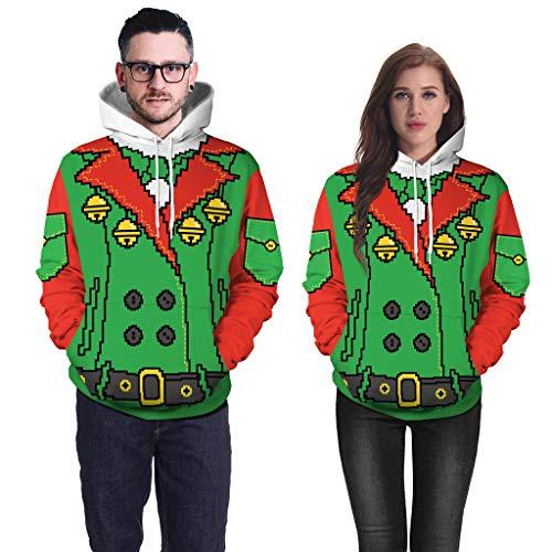 Aoogo Unisex Damen Herren Pullover Mode Herbst Winter Weihnachten Geist 3D Gedruckt Langarm Hoodie Kühl Paar tragen Sweatshirt Top Bluse Mit Kapuze Kordelzug Elastische Taille