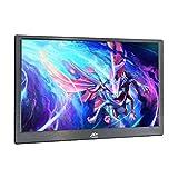 """Monitor portatile sottile 13.3"""" FULL HD,Kenowa 1920 * 1080 LED gioco monitor utilizza CNC Shell,2 mini HDMI,porta auricolare,alimentato via USB, luce blu bassa e sfarfallio,con custodia in pelle,Nero"""
