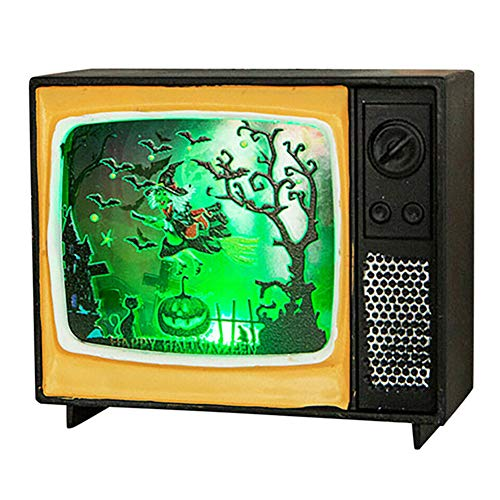 Ohyoulive Halloween Ornament Television Light Retro Light Holiday Party Decoration New Halloween Lights Decorative Props Creative Retro TV LED Lights Bar Scene Atmosphere Layout 2019 (Halloween-power Light 2019 And)