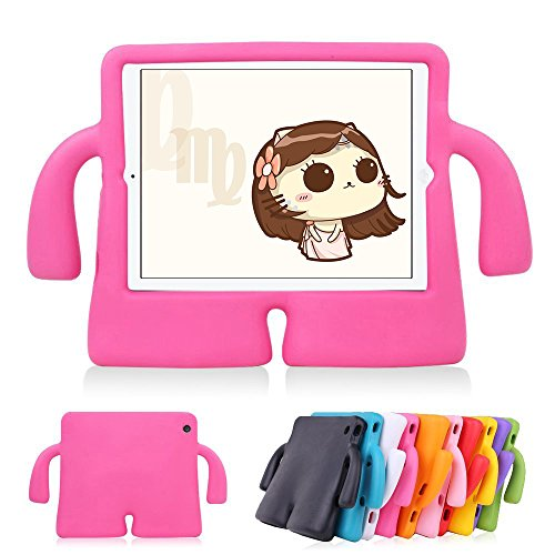 Funda protectora de espuma infantil,CLOUDSTOO protectora suave para Apple iPad 2/3/4 A prueba de golpes Kids Safe Foam Mango Cartoon Case Cover Stand para iPad 2/3/4,color Rosa rojo