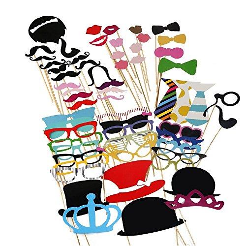 IBuyi 60 Stück Foto Booth Props Dekorationen, Funny Event Zubehör Zubehör für Hochzeit, Geburtstag, Graduierung oder jede andere Party [Inklusive Kronen, Hüte, Krawatten, Hüte, Bärte, Lippen etc.] (Style 2)