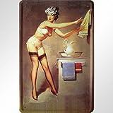 Badezimmer Pinup klassisches Motiv Blechschild Replik
