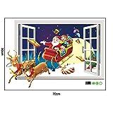MAYOGO Weihnachten Wandaufkleber 3D Stereoskopisch Fenster Muster Wand Applique Vitrine Wohnzimmer 3D Stickers Weihnachtsmann Schlitten Printted