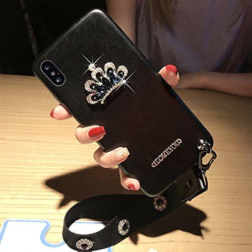 Cover the iPhone X Ultra Slim, Custodia per iPhone X, Bonice Ultra Slim Diamante Bling Glitter Lusso Cristallo Strass Morbida Rubber Bumper 360 Gradi TPU Gel Silicone Morbido Corona Case Cover e Cingh iPhone X-Cover-10