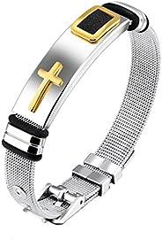 Yellow Chimes Western Cross Steel Charm Bracelet for Men (Silver) (YCSSBR-G878CRS-SL)
