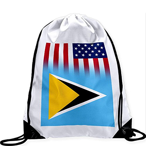 Large Drawstring Bag with Flag of Saint Lucia Long Lasting Vibrant Image Lucia Boot