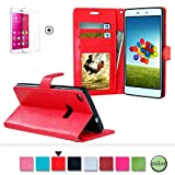 Huawei Ascend P8 5.2 Zoll Leder Brieftasche Hülle Case Flip Cover - Funyye [Rot Solide Farbe] Magnetic PU Ledertasche Hüllen Flip Cover Telefon-Kasten Handyhülle Bookstyle Wallet Brieftasche Card Slot Handycase für Huawei Ascend P8 5.2 Zoll,Wallet Case Flip Cover Hüllen Schutzhülle Etui Ledertasche Lederhülle mit Standfunktion Kartenfächer für Huawei Ascend P8 5.2 Zoll + 1 x Frei Displayschutzfolie