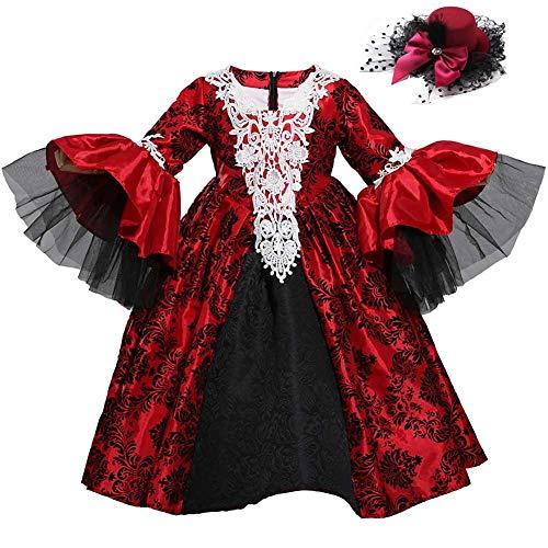 GLXQIJ 4-8 Jahre Kinder Mädchen Halloween Kostüm Party Deluxe Vampir Königin Prinzessin Kostüm, Mit Kopfbedeckung,Black,S (Deluxe Vampir Kind Kostüm)