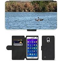 Grand Phone Cases PU Leather Flip Custodia Protettiva Case Cover per // M00141718 Oies rivière Natation Canada Goose Eau // Samsung Galaxy Note 4 IV