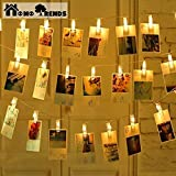 Photo Clips Led 40 Pack with String Rope free as a Gift | Led Art clips Best for Photos, Cards, Memos, Art Work & Birthday Parties by Homo Trends.