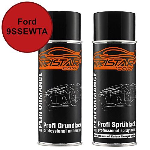 TRISTARcolor Autolack Spraydosen Set für Ford 9SSEWTA Candy Red Perl Grundlack Basislack Sprühdose 400ml -