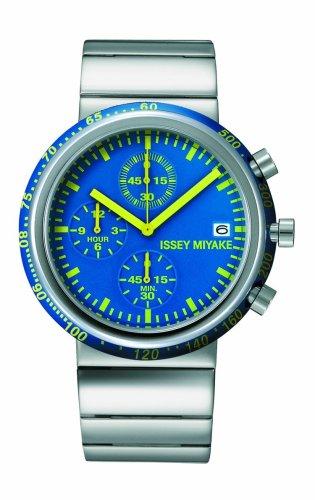 Issey Miyake Trapezoid - Reloj cronógrafo de caballero de cuarzo con correa de acero inoxidable plateada (cronómetro) - sumergible a 50 metros