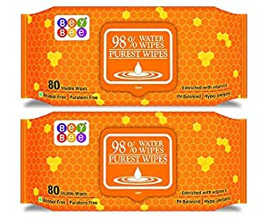 Beybee Hypoallergenic Baby Water Wipes for New Born Babies Sensitive Skin, 80 Wipes (Pack of 2)
