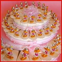Detalle de regalo en forma de tarta con cajitas de peladillas de cartón blanco decorado con brillantes y flores rosas. Cada porción dispone de figuras de resina de color plateado con forma de patita con detalles en rosa. Detalle de regalo para nacimiento, cumpleaños, bautizos y Primera Comunión