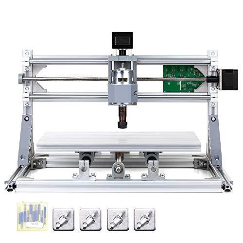 KKmoon 300x180x45mm DIY Router Kit 2-en-1 Mini máquina de grabado GRBL Control 3 Ejes para PCB PVC Plástico acrílico Talla de madera Fresado Máquina de grabado con ER11 Boquilla Área de trabajo XYZ