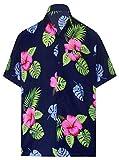 LA LEELA ntage Surf Pulsante Fino Camicie hawaiane per Gli Uomini 1889 Blu Navy 446 XL