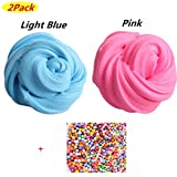 COSORO Fluffy Slime Kit - 2 Pack Fluffy Floam Slime Putty, Clay Playdough, Rubber Mud for Kids & Adults Stress Relief Toy No Borax (include 1 Pack Colorful Foam Balls) (Pink+Light Blue)