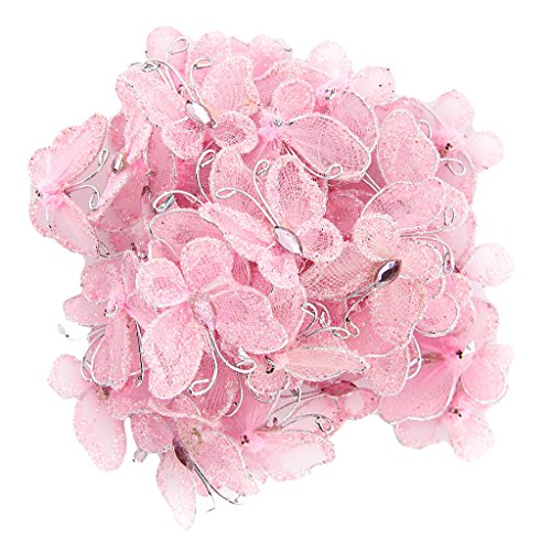 Fenteer 50x Glitter Schmetterlinge Künstliche Schmetterlinge Schmuck Streudeko für Hochzeit Party - Rosa