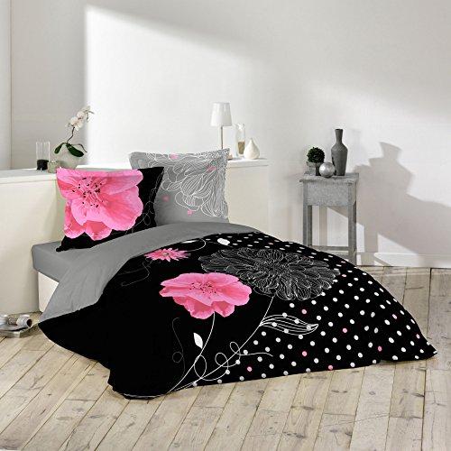 Douceur d' interno Eclat Parure con 2federe di cuscini cotone nero 260x 240cm