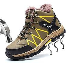 SUADEEX Mujer Hombre Invierno Zapatillas de Seguridad Botas con Puntera de Acero Impermeables Zapatos de Trabajo