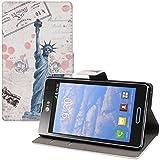 kwmobile Wallet Case Kunstlederhülle für LG Optimus L7 II - Cover Flip Tasche in Freiheitsstatue Post Design mit Kartenfach und Ständerfunktion in Blau Weiß