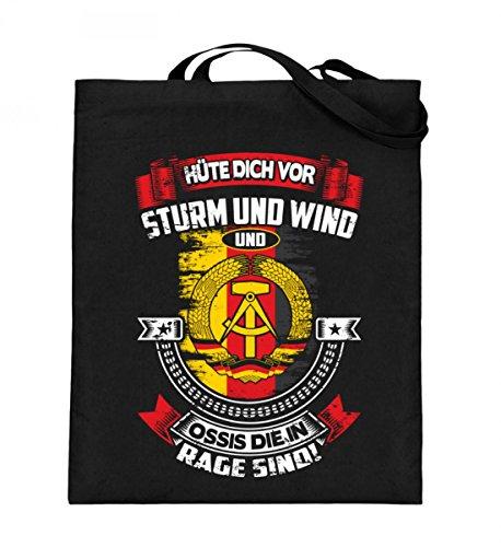 Hochwertiger Jutebeutel (mit langen Henkeln) - DDR - STURM UND WIND Black