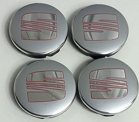 Lot de 4 Logo SEAT 56mm ROUGE ARGENT CHROME Centre
