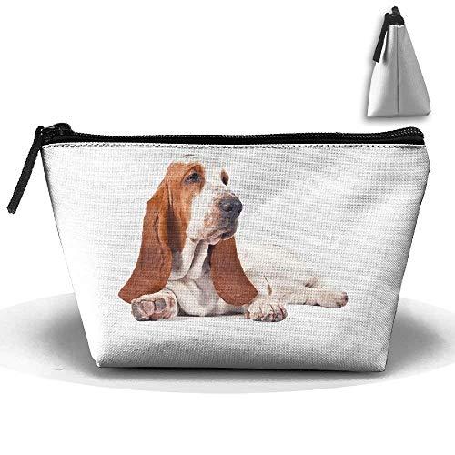 Oversized Travel Tote (Basset Hound Dog Makeup Bag Storage Portable Travel Wash Tote Zipper Wallet Handbag Carry Case)
