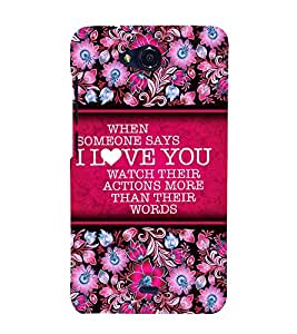 Love Message 3D Hard Polycarbonate Designer Back Case Cover for Micromax Canvas Play Q355