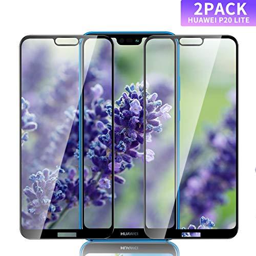 Nutmix Huawei P20 Lite Verre Trempé, [Pack de 2] Verre trempé de Haute qualité, Dureté 9H, sans Bulles, Couvir l'écran Complèt HD,Convient pour Huawei P20 Lite (Noir)