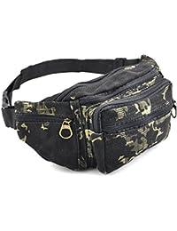 Gleader Ninos Ninas Ninos lienzo Camo Cintura BUM bolsa de viaje de vacaciones NUEVA Seguridad - Negro