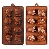 KBstore 2 Stück Silikon Schokoladenform Pralinenform - Tier und Auto Flugzeuge Trainieren Schiff Form Silikonform für Schokoladen - backform für Schokolade/Süßigkeit/Gelee/Eiswürfel/Kleine Seife