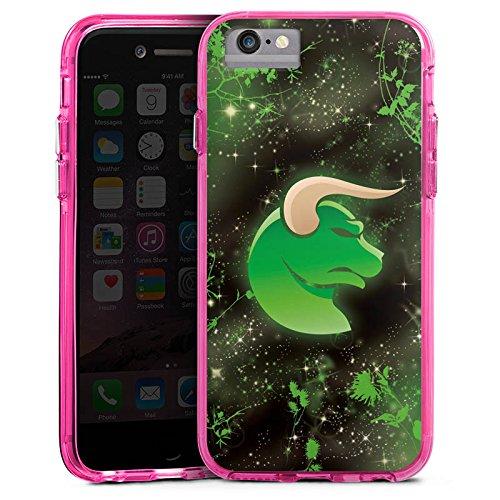 Apple iPhone 6 Bumper Hülle Bumper Case Glitzer Hülle Sternzeichen Astrologie Stier Bumper Case transparent pink