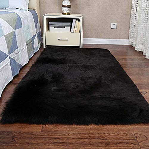 GOPG Künstliche Wolle Teppich, Weich Plüsch Flauschiger rutschfest Waschbarer Teppich für Wohnzimmer Schlafzimmer Balkon Kinderzimmer-Schwarz-160x230Cm(63x91Zoll)