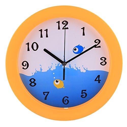 Mecotech Wanduhr Kinder, 25CM Modern Kinderwanduhr Nicht-tickende Lautlos Kinder Wanduhr Kinderzimmer Uhr ohne Tickgeräusche (Stil-1)