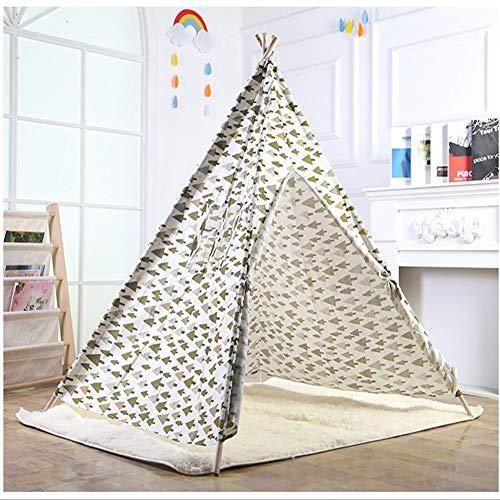 LJW Kinderzelt Wohnkultur Baumwollgewebe+Holz Rod Indoor 1.4m Drucken,White (Einfache Menschliche Rod)