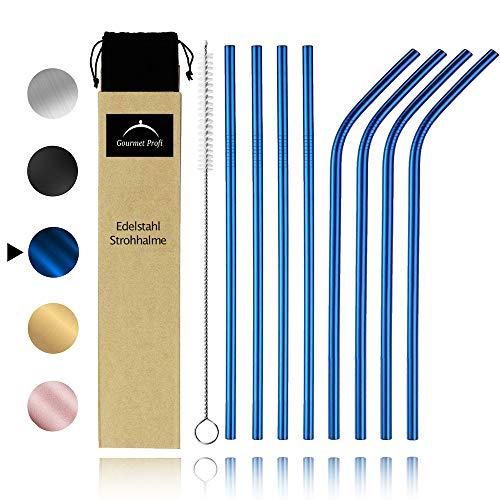 Gourmet Profi Premium Edelstahl Strohhalme 8er Set Blau + Lange Reinigungsbürste + Tasche - Wiederverwendbare & umweltfreundlich Metall Trinkhalme - Nachhaltig Plastikfrei